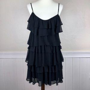 ZARA Tier Ruffle Little Black Dress Size Medium